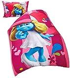 The Smurfs Die Schlümpfe Film Single Bettbezug Bettdecke Set mit Kissenbezug, Pink