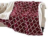 Kuscheldecke Bordeaux Lammfelloptik Wohndecke Tagesdecke Decke Sherpa Ornament Flauschig Weich und Angenehm Warm Perfekt für Winter Microlight to Berber 127x150cm