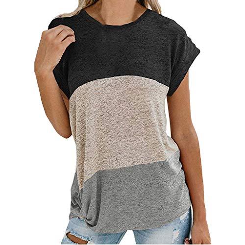 OIKAY Frauen Damen T-Shirt Rundhals Kurzarm Ladies Sommer Casual Oberteil Damen Solid Color Stitching verknotete schulterfreie Top Bluse