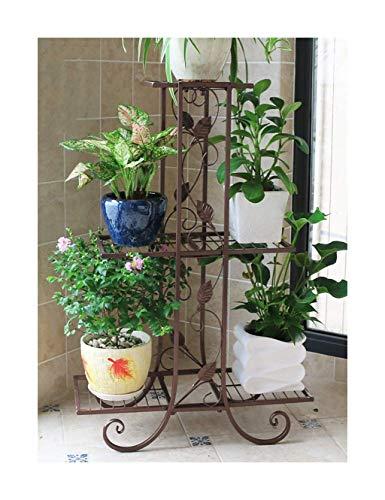 DPPD Vertikale Europäische Blumenständer Balkon Schmiedeeisen DREI-Schicht-Pflanze Blumentopf Wohnzimmer Innen- und Außen Retro-Stil FenPing (Farbe: Braun)