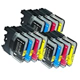 12 Compatible LC1100 LC980 Ink cartridges for Brother DCP 145C, 165C, 385C, 535CN, 585CW, 6690CN, 6690CW, MFC 290C, 490CN, 490CW, 670CD, 670CDW, 790CW, 930CDN, 5490CN, 5890CN, 6490CW, 790CW, 990CW, LC-1100BK, LC-1100C, LC-1100M, LC-1100Y, LC980, LC67, LC65, LC61, LC38, LC16, LC11, 3 Sets of 4, Hight Capacity