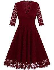 Gaoxu Autumn Ladies, Women 's vestido de la cintura, cuello en V de siete puntos, manga de encaje falda Big Swing,Azul oscuro,XXL