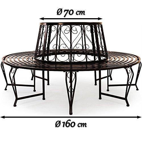 Baumbank 360° Metall, Ø 160cm, pulverbeschichtet, geschwungene Beine Gartenbank Rundbank - 7