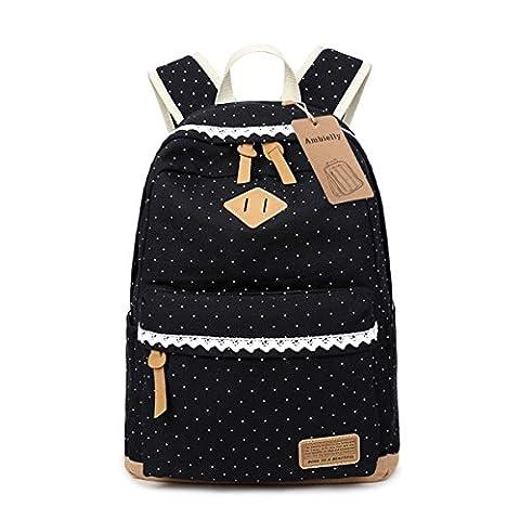 Ambielly Schulart- Rucksäcke verdickte Leinwand Laptop-Beutel-Schulter Daypack-Schule-Rucksack-verursachende Handtasche