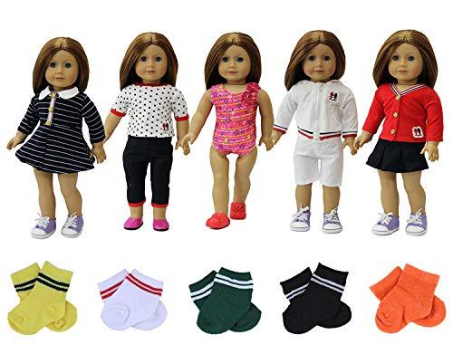 ZITA ELEMENT 8 Stück Tägliche Puppensachen für 43-46cm American Babypuppen Girl Doll Puppe Bekleidung 5er Puppenkleidung mit 3 Paare Socken -Zufälliger Stil
