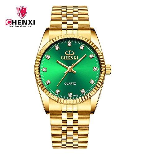 SJXIN Cool Stylish CHEN XI Watch Gold Watch CHENXI Watch Business Watch  Quartz Watch Couple Table 004A Full Gold IGP Fashion Watches (Color : 3)