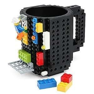 luckkyy® luckkyy build-on Brique Mug Tasse à Café Tasse à thé compatible Lego Mega Kre-O–Potable Cups Enfant Cadeau, noir