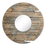 Espejo Redondo de Madera Natural Azul rústico para salón de 60 cm Bretaña - LOLAhome