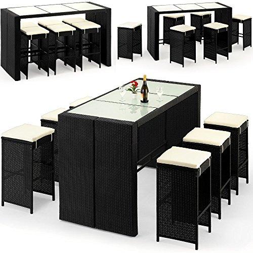 Deuba Poly Rattan Sitzgruppe Bar Set | 6 Barhocker mit Auflagen | Bartisch Milchglas | Garten Outdoor Gartenmöbel Set