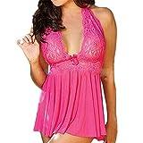 Gemini_mall® Women's Lingerie Deep V-neck Halter Lace Babydoll Underwear Comfortable Sleepwear Nightwear Plus Size (6XL, Pink)