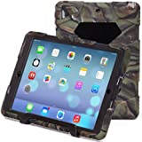 ACEGUARDER iPad Air Smart Rugged Case Cover With Heavy Duty Protection Silicone and Shockproof/drop-proof Feature With Portable Tablet Stand for Apple iPad Air iPad 5 (2014 Version)-Army/Black