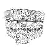 rings-midwestjewellery. com de la mujer Oro blanco boda Trio Set Wo anillos Real 1/2cttw diamantes Pave (I/J color 0,5quilates)