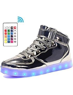 [Gesponsert]Voovix Kinder High-top LED Licht Blinkt Sneaker mit Fernbedienung-USB Aufladen Led Schuhe für Jungen und Mädchen