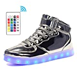 Voovix Kids LED Light Up Shoes Flashing Trainers High-top Charging Sneakers with Remote Control for Boys and Girls (Silver, EU32)