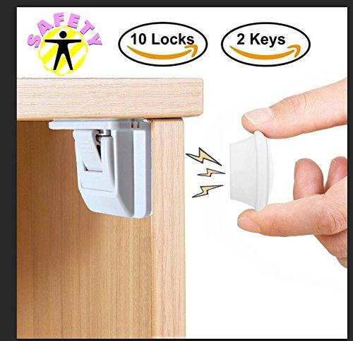 Baby Safety locks AMENON 10 y 2 llaves, cerraduras magnéticas para armarios infantiles con seguridad para niños y bebés, juegos de seguridad fáciles de instalar que a prueba su diseño de muebles para proteger a sus niños y niños pequeños, sin tornillos o perforaciones