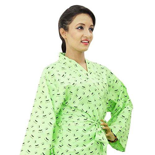 Coton demoiselle Wrap court bleu imprimé Crossover Robes Spa Wrap Vert clair