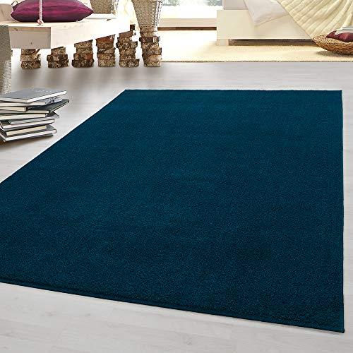 HomebyHome tappeto moderno pelo corto economico tinta unita mélange per salotto camera da letto corridoio cucina turchese 200 x 290