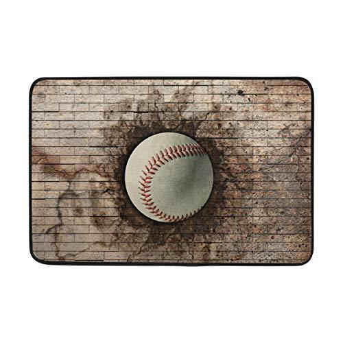 ALAZA Vintage Sport 3D Baseball Embedded Stein Sport Fußmatte Indoor Outdoor Entrance Unterlegmatte Badezimmer 59,9x 39,9cm Baseball-stein