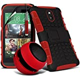 ( Red ) HTC Desire 610 Case 4-IN-1 Stylish Design BUMPER GIFT SET Tough Survivor Hard Rugged Shock Proof Heavy Duty Skin Cover + 3.5MM Portable Mini Capsule Speaker + Retractable Touchscreen Stylus Pen + LCD Screen Protector Guard by Fone-Case