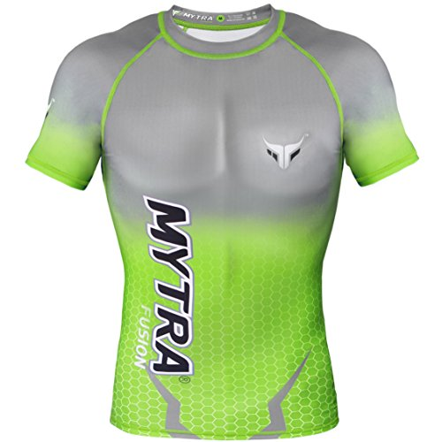 mytra Fusion Herren Power Layer Top Lange Ärmel unter Shirt - Crew Neck (Large, Black Grey) (Green Grey, X-Large) Advance Vest