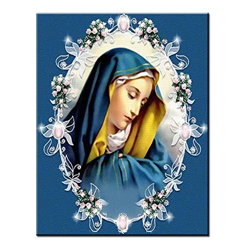 Taladro redondo completo Virgen María Diamante Pintura Nuestra señora retrato Rhinestone Bordado diamante Mosaico Punto de cruz 3d 40x50cm/16x20in