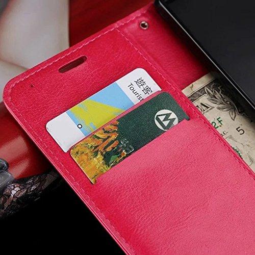 Wkae Case Cover caso di Huawei P8 LITE, Cuoio folio modello di colore solido caso di stile di disegno del raccoglitore magnetico della copertura di vibrazione della copertura della cassa standup per H White