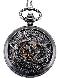 ManChDa® Antique Mécanique Montre de poche Chanceux Dragon & Phoenix (meilleurs voeux) Cadran squelette avec chaîne pour les Hommes Femmes + Coffret