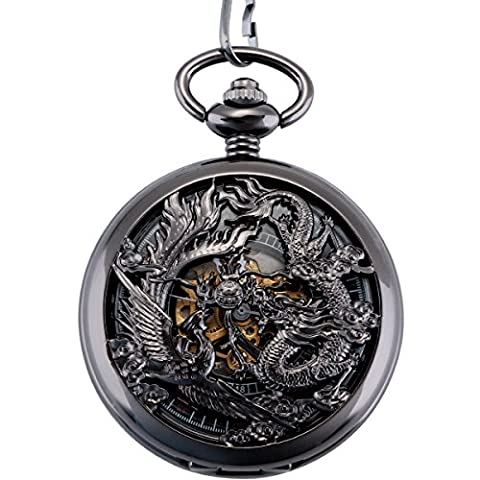 ManChDa® Antique Mechanical Pocket Watch Lucky Dragon & Phoenix (best wishes) Black Skeleton Dial with Chain + Gift Box
