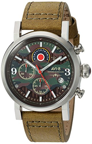 AVI-8 Men's 'Hawker Hurricane' Quartz Stainless Steel and Leather Aviator Watch, Color:Green (Model: AV-4041-06)