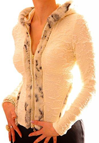 Tag Kleid Liebe Label (PoshTops Gemütlich Damen Zip Up Blazer mit Kapuze Dehnbares Material Damenshirt Lang Ärmel Größen S – XXXL Abendkleidung Freizeitkleidung Plus Size Kleidung (Sahne, S/36/38))