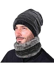 3b9b666470b18 XIAOYAO Gorros de Invierno con Bufanda Sombrero Punto con Forro Polar  Interno es Muy Suave (