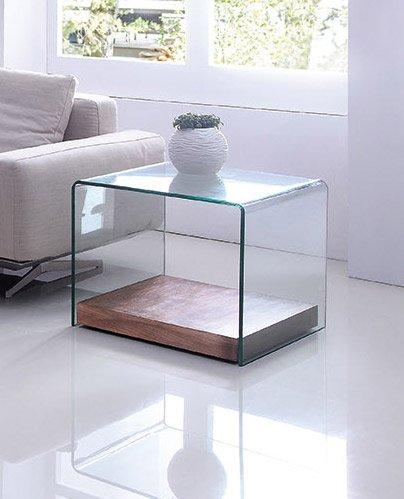 Design Beistelltisch Wood Cube aus Glas klar | 60 x 60 x 48cm | Bodenplatte aus Holz | Wohnzimmer Glastisch aus einem Stück gebogen | hochwertig verarbeitet -