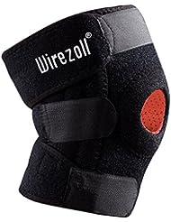 Rodillera, Wirezoll Protector Deportivo Ajustable para Rodilla y 4 Muelle, Negro