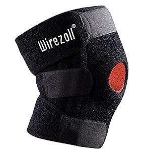 Kniebandage Sport , Wirezoll Atmungsaktiver Knieschützer Verstellbare Knieorthese mit Gelenkschienen aus Baumwolle für Volleyball, Handball  -   Schwarz