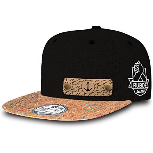 RUBDE Cap2 | Individuelle Snapback Cap Basecap Kappe mit Lederpatch, NFC-Sticker und QR-Code Größen - personalisierbar | Unisex - Herren Damen Kinder Kids | Rainbow Cork Kork S