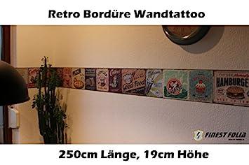 Wandtattoo Von Finest Folia Retro 2,5m Bordüre Küche Esszimmer Vintage Old  School Aufkleber Folie (mit Rakel U0026 Filzkante): Amazon.de: Küche U0026 Haushalt