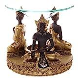 Puckator Gold & Brown Thai Buddha Oil Burner with Glass Mosaic Detail