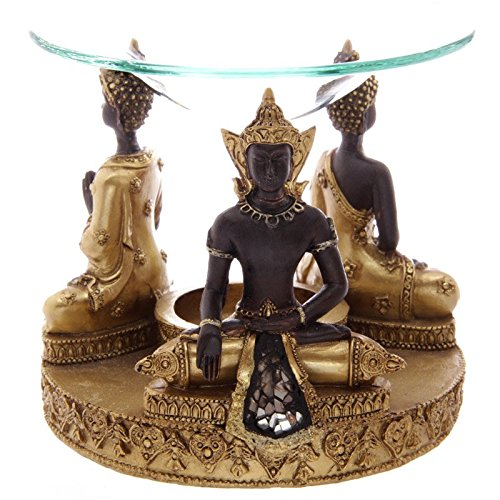 Gold-Brown-Thai-Buddha-Oil-Burner-with-Glass-Mosaic-Detail