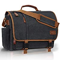 Wilbest® Laptop Bag 15.6 Inch Water Repellent,Canvas Laptop Messenger Bag with PVC,Adjustable Shoulder Strap,Shoulder Pad,PU Leather Handle for Women/Men,Briefcase Shoulder Messenger Bag for Work-Grey