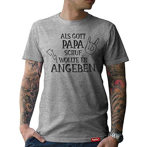 #PAPA: Original HARIZ® Collection T-Shirt // 36 Designs wählbar // Grau, S-XXL // Inkl. Urkunde, Ideales Geschenk zum Vatertag Weihnachten oder Geburtstag #Papa27: Als Gott Papa schuf XL (Gottes Xl Xxl)