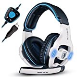 SADES SA903 Wired USB 7.1 Channel Surround Stereo Sound Gaming Headset, Over Ear PC Gaming Headphone with Volume Control Mic Noise Canceling and LED Light-White