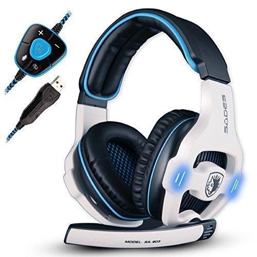 SADES SA903 USB 7.1 Kanal Virtuelles Surround Stereo Gaming Headset, PC Over-Ear-Kopfhörer Gaming mit Mikrofon Rauschen Abbrechen Lautstärkeregler und LED Licht(Weiß)