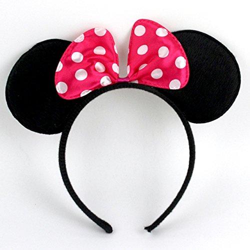 Smute Haarreifen mit Maus Ohren und Schleife | Haarreif Haarschmuck für Kinder und Erwachsene (Pink)