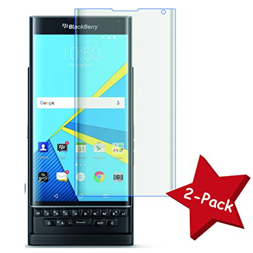 """Funnytech@ [Pack 2] Protector de pantalla Cristal templado para Blackberry """"Priv"""" (No cubre el borde biselado) l Calidad HD, Grosor 0,3mm, Bordes redondeados 2,5D, alta resistencia a golpes 9H. No deja_x000D_ burbujas en la colocación (Incluye instrucciones y soporte en Español)"""