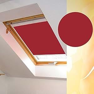 Occultant pour velux avec monture de gIL, gIV, gDL, delta-vFE vFA-vFB gEB-vEA, exportkhleb vEC m34 et 334/couleur/tissu e020 store enrouleur occultant rouge, sur mesure, opaque