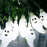 Halloween Lichterkette LED Schnurlicht 30 LEDs Kürbis Geist Licht für Außen Weihnachten Halloween Party Park Fest Deko (weiß)