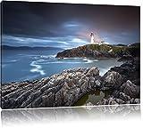 Leuchtturm im Meer Bild auf Leinwand, XXL riesige Bilder fertig gerahmt mit Keilrahmen, Kunstdruck auf Wandbild mit Rahmen, guenstiger als Gemaelde oder Bild, kein Poster oder Plakat, Format:80x60 cm