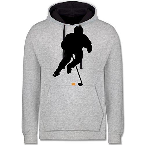 Eishockey - Eishockey Spieler - Kontrast Hoodie Grau meliert/Dunkelblau