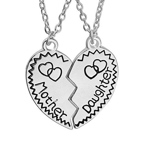 LUOEM gebrochen Muttertag mit Halsketten-Set Mutter Tochter Puzzle Herz Anhänger-Halsketten-Set Mutter Geschenk (Silber) (Mutter Und Tochter-geschenk-sets)