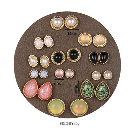 Ogquaton Pendientes Ojo de Resina de Ojo de Gato Conjunto de uñas Perla Femenina Oreja sin Orificio Abrazadera de Oreja Pendientes